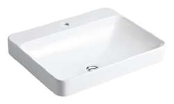 Kohler Vox rectangular vessels basin with 1 tap hole, 584x460mm